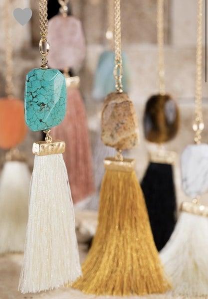 Gemstone Tassel Necklace