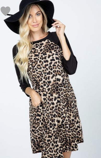 Plus Leopard Baseball Tshirt Dress
