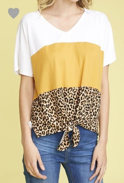 Plus Blocked Animal Print Top