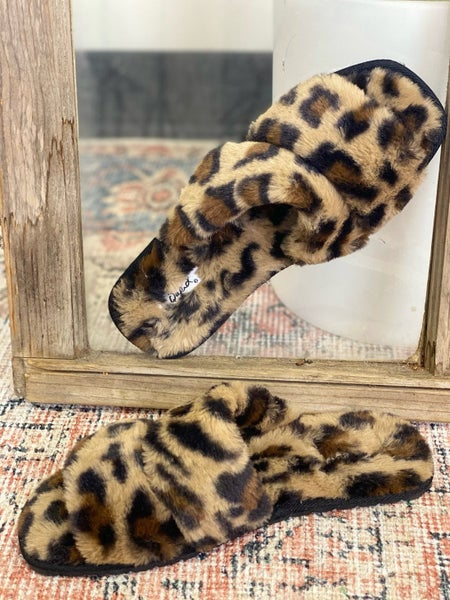 Oh So Fuzzy Slipper Sandals - Leopard