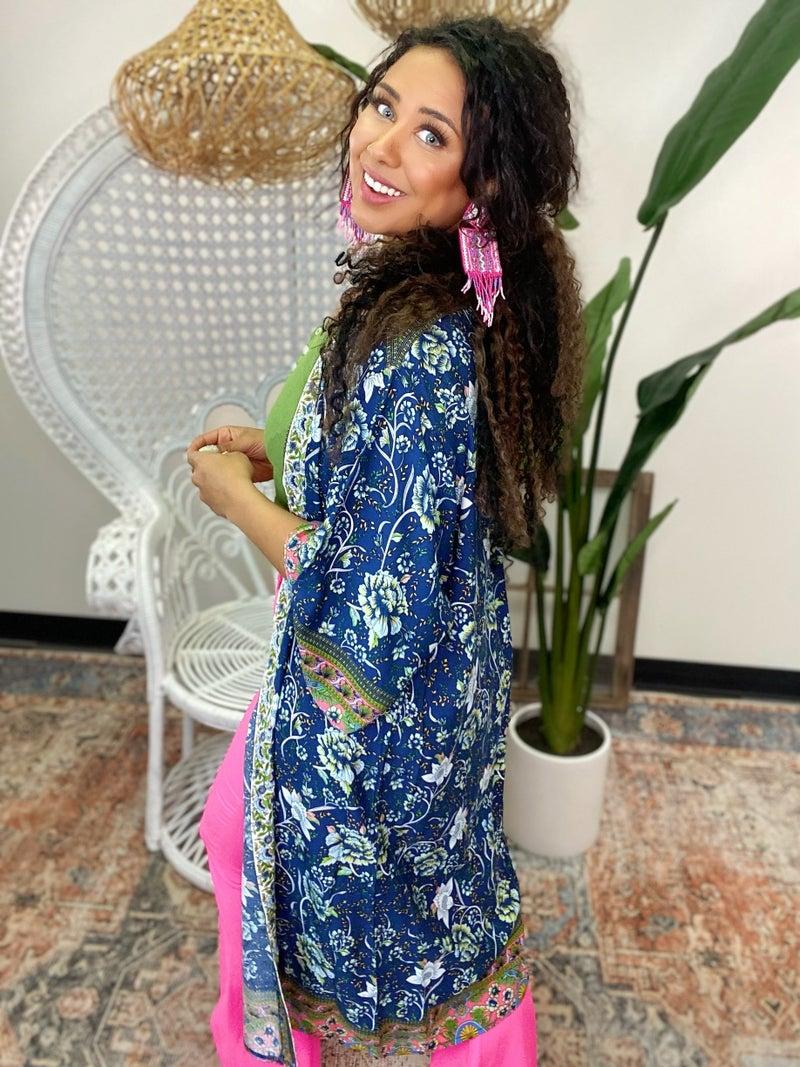 Boho Days Floral Kimono - Navy