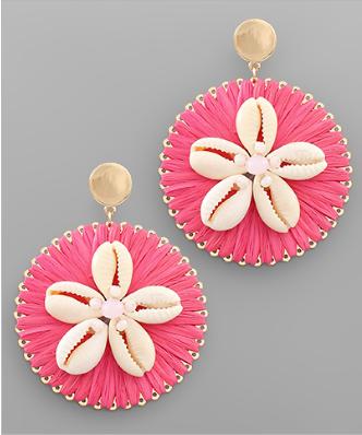 Take Me To The Beach Shell Earrings - Pink