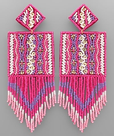 Square Bliss Beaded Earrings - Pink