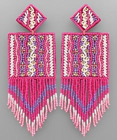 Square Bliss Beaded Earrings - Pink