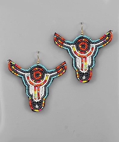 Steer Head Beaded Earrings