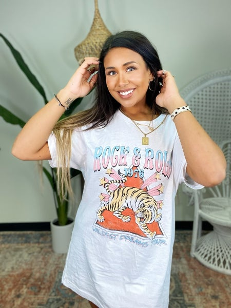 Rock and Roll Tiger Graphic Tee - White