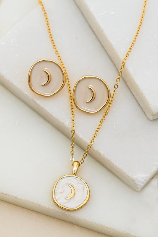 Crescent Moon Necklace & Earrings Set