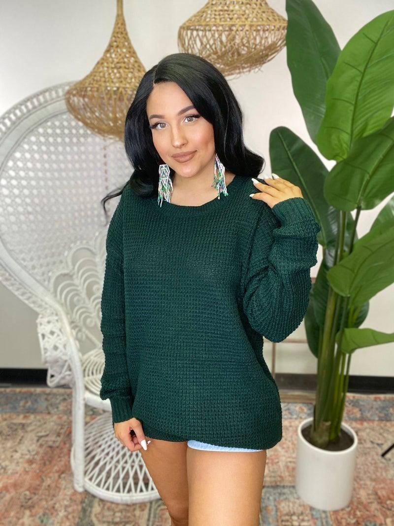 Give Me Joy Waffle Sweater - Green