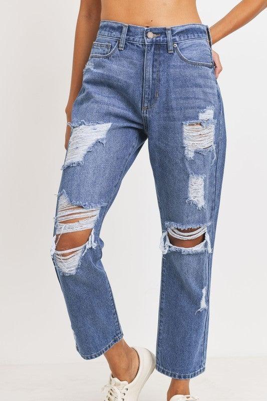 Just Black Denim Destroyed Girlfriend Jeans
