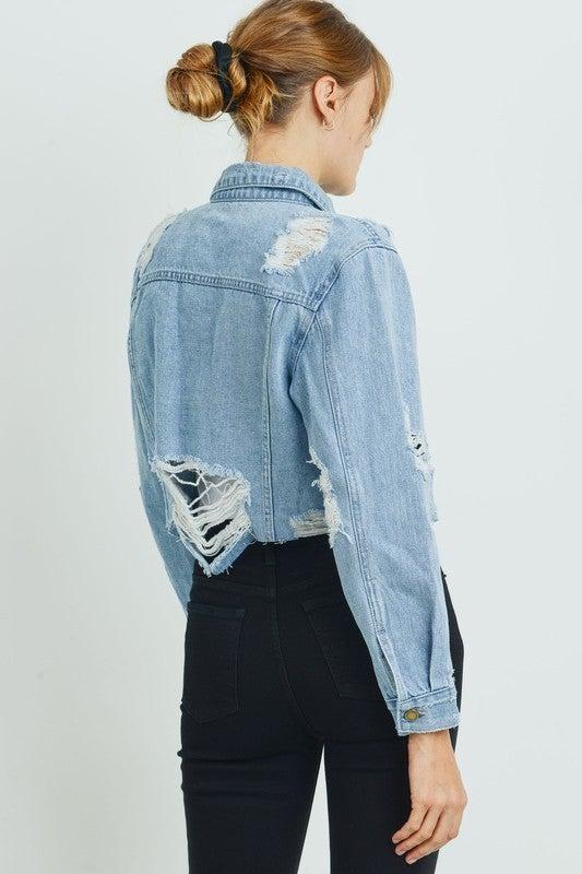 Lose Control Cropped Denim Jacket