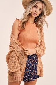 Elyse Eyelet Top - GINGER