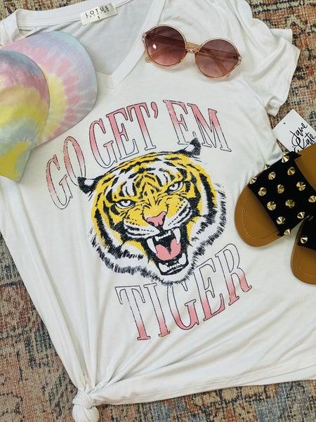 Go Get 'Em Tiger Graphic Tee - White
