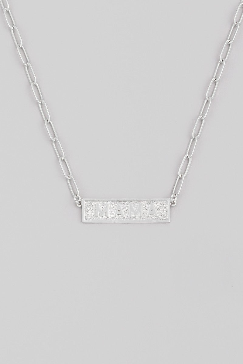 Mama Nameplate Necklace - Silver