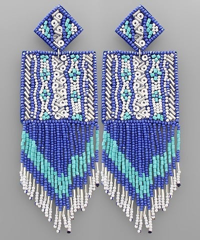 Square Bliss Beaded Earrings - Blue