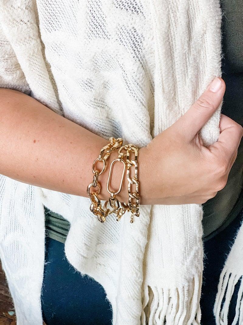 Gold Chain Bracelet Set