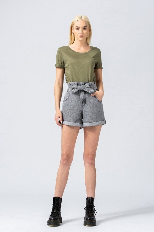 Super High Rise Grey Paperbag Shorts