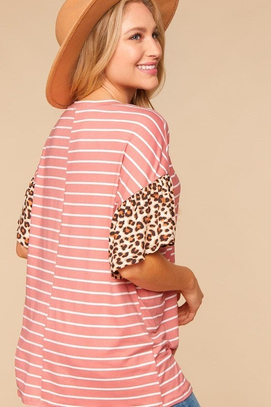 Ring That Bell Striped Leopard Detail Top