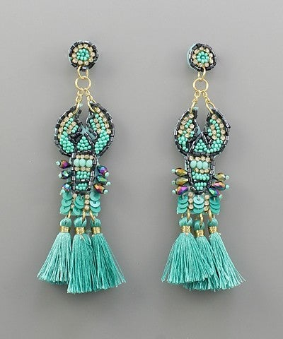 Lobster Tassel Earrings - Mint