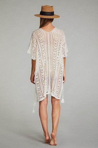 Beach Waves Cover Up Top - White