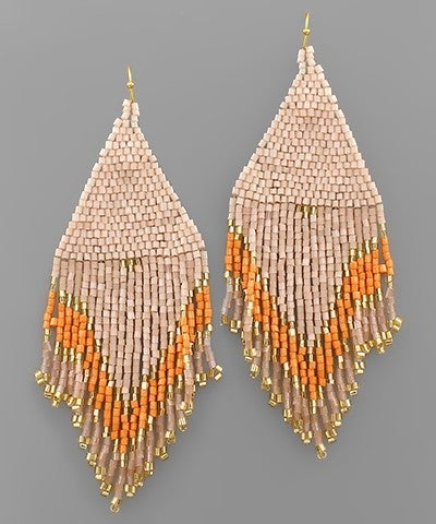 Feeling Peachy Beaded Tassel Earrings