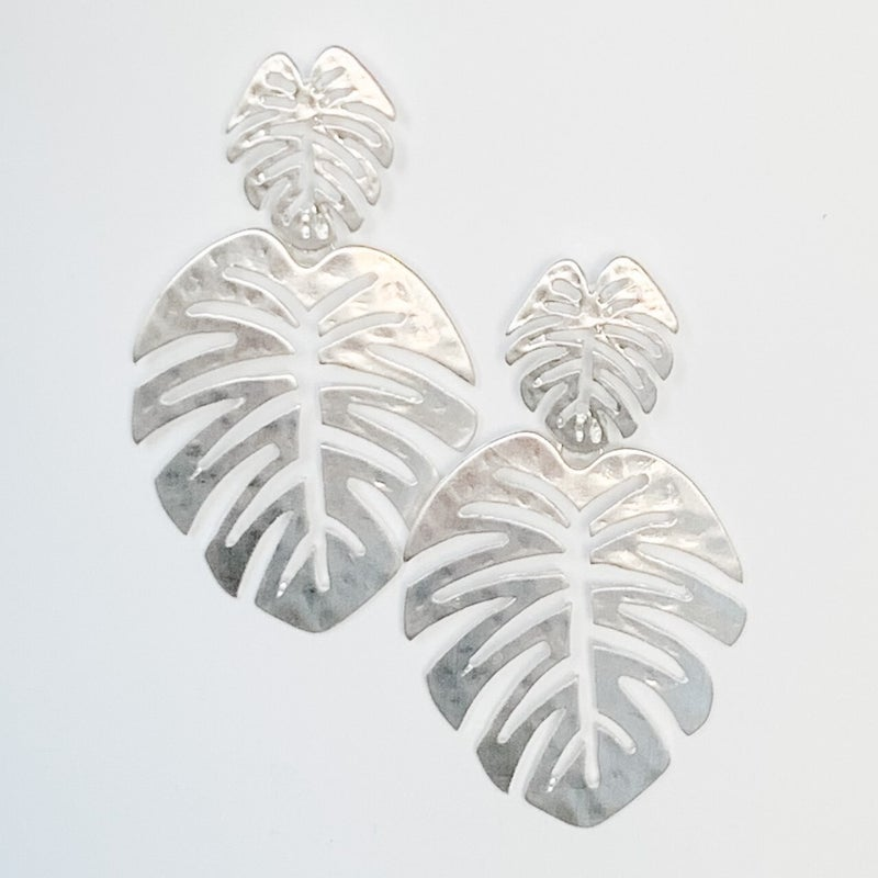 On Vacay Palm Leaf Earrings
