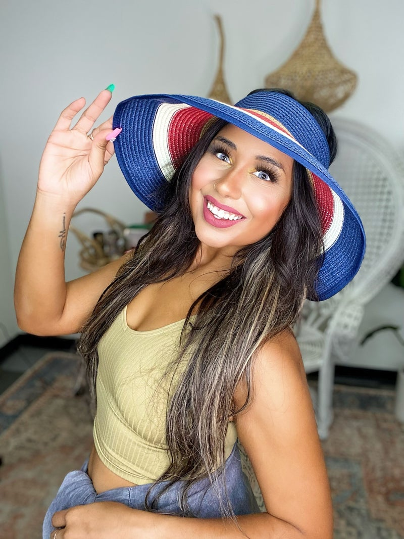Miss Independent Americana Roll Up Visor