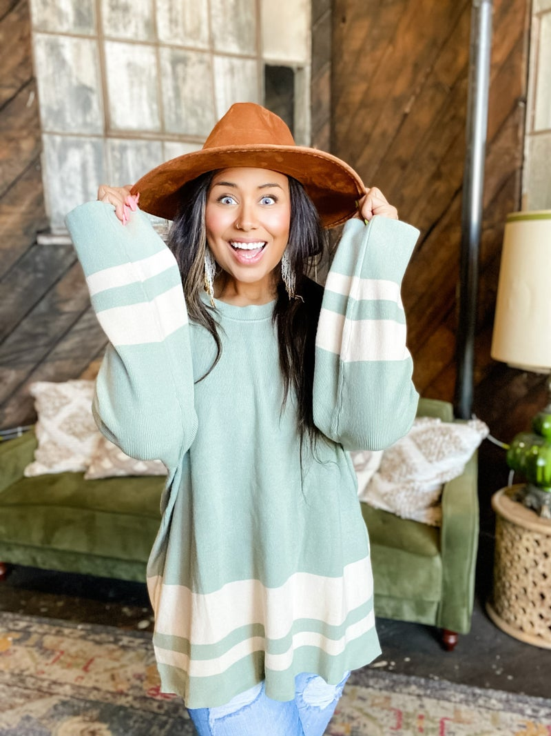 *FINAL SALE* Sporty Striped Loungewear Sweater