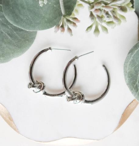 Twisted Up Knot Hoop Earrings