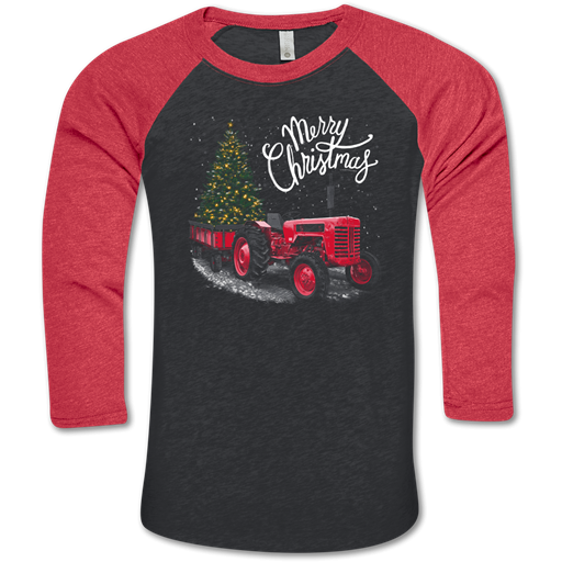 *FINAL SALE* Christmas Tractor Raglan by Southern Couture