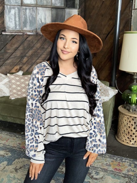 Out For The Day Leopard Striped Top