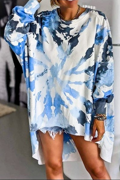 All The Swirls Top - Blue