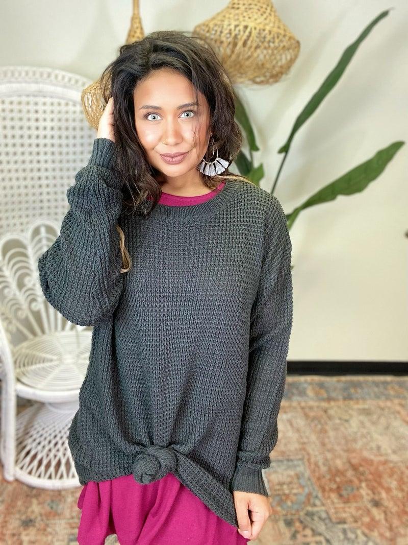 Give Me Joy Waffle Sweater - Grey