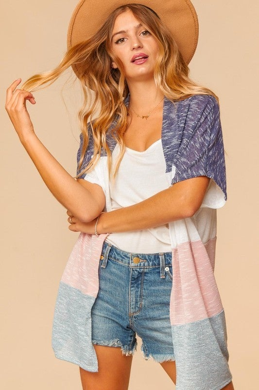 The Charlie Color Block Cardigan - White