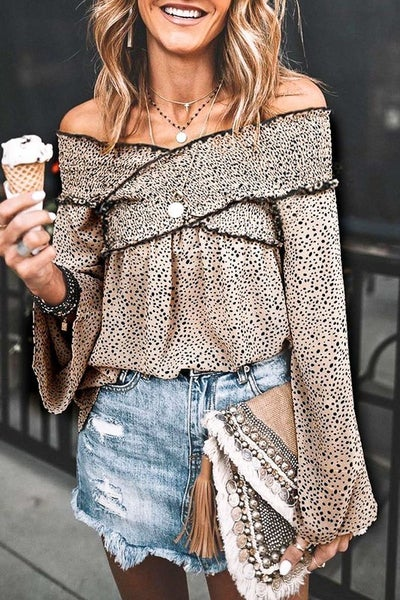 Cross Me Off Leopard Top - Taupe