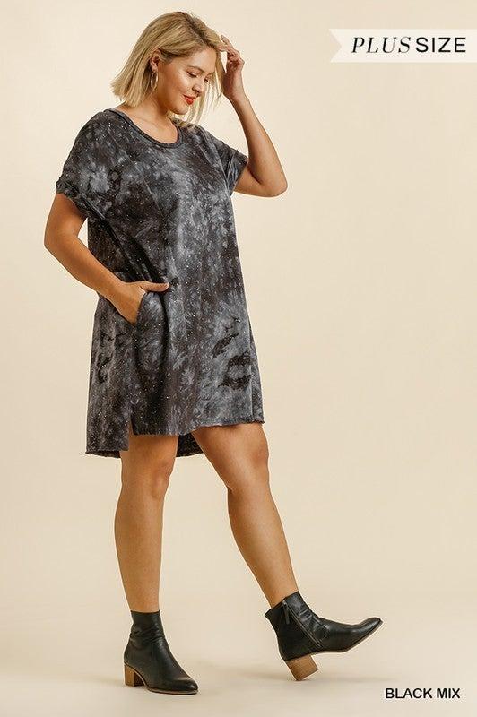 Tie Dye Burnout Dress - Black