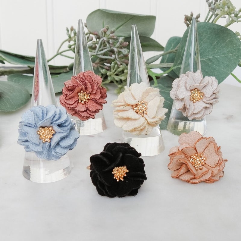 Suede Flower Ring