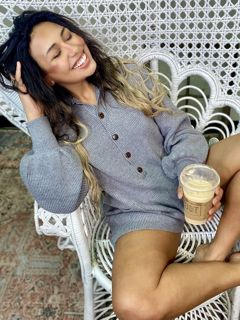 Cozy And Comfy Grey Knitted Romper