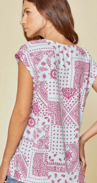 Paisley Patchwork Top - Pink