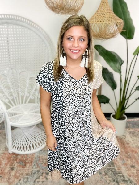 Had My Heart Leopard Striped Dress - Black