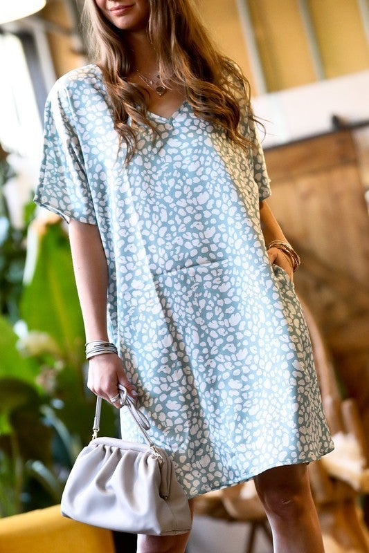 Hot In Leopard Dress - Mint