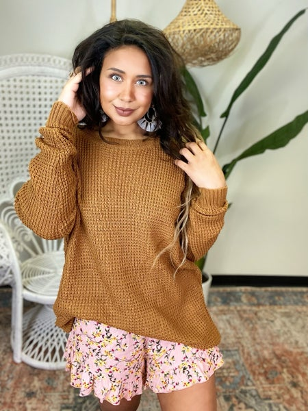 Give Me Joy Waffle Sweater - Coffee