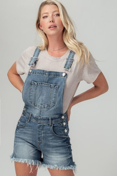Moment of Truth Denim Overall Shorts