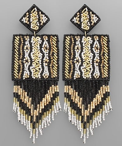 Square Bliss Beaded Earrings - Black