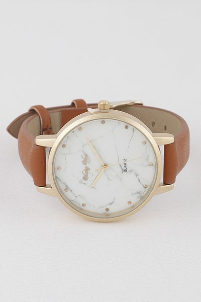 Chic The Time Faux Leather Watch - Camel