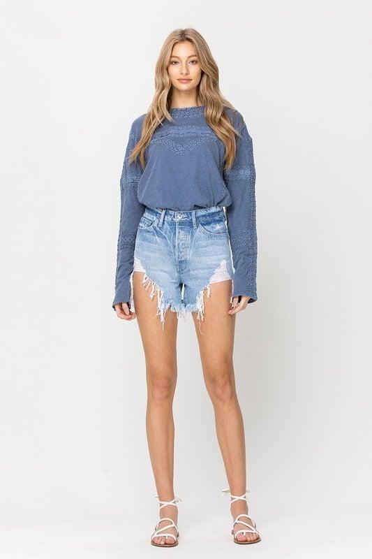Super High Waisted Distressed Denim Shorts