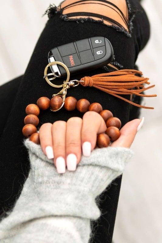 Feeling Good Wooden Key Ring Bracelet
