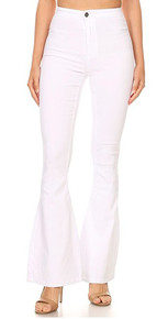 Count On It Stretch Bell Bottom Pants - WHITE