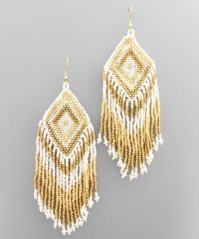 Fringe Diamond Beaded Earrings - Natural