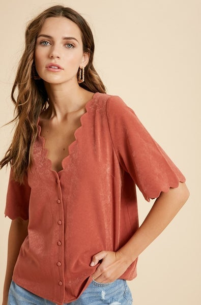 Everlasting Love Scallop Blouse