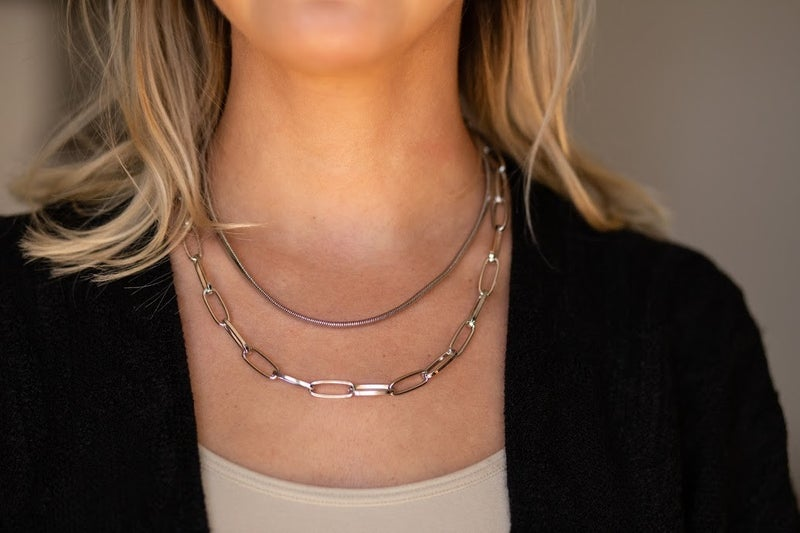 Two Layer Herringbone Chain Necklace